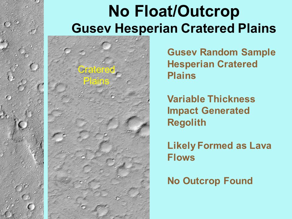 No Float/Outcrop Gusev Hesperian Cratered Plains Gusev Random Sample Hesperian Cratered Plains Variable Thickness Impact Generated Regolith Likely For