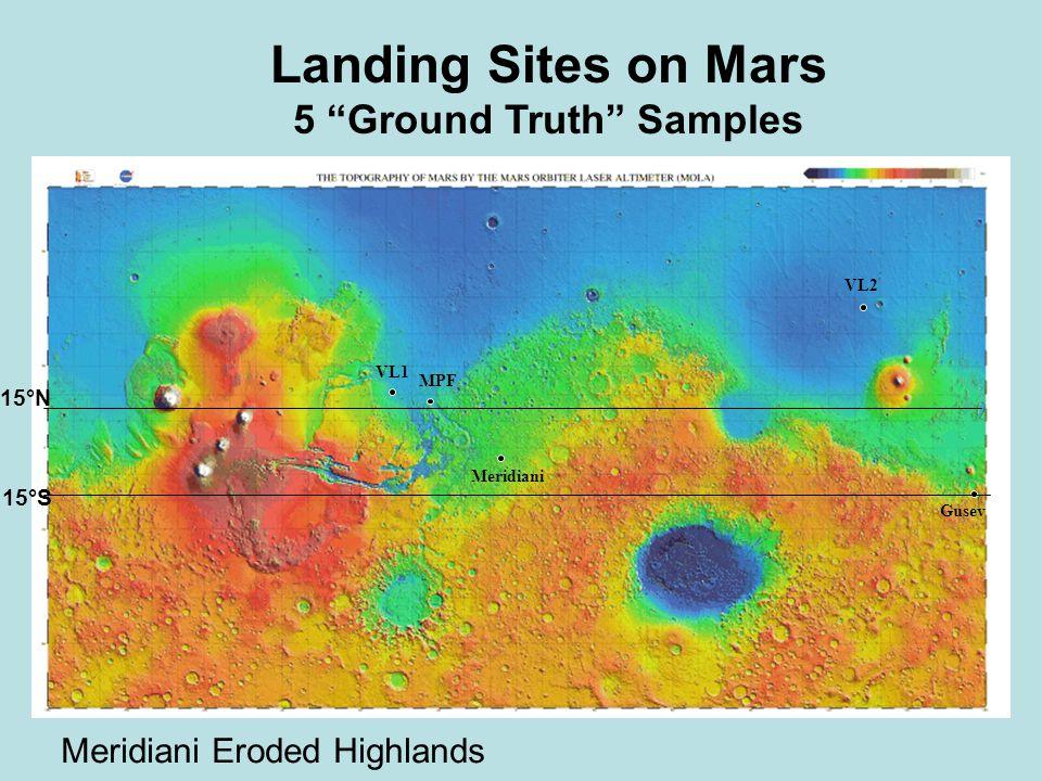 VL1 MPF Meridiani VL2 Gusev Landing Sites on Mars 5 Ground Truth Samples 15°N 15°S Meridiani Eroded Highlands