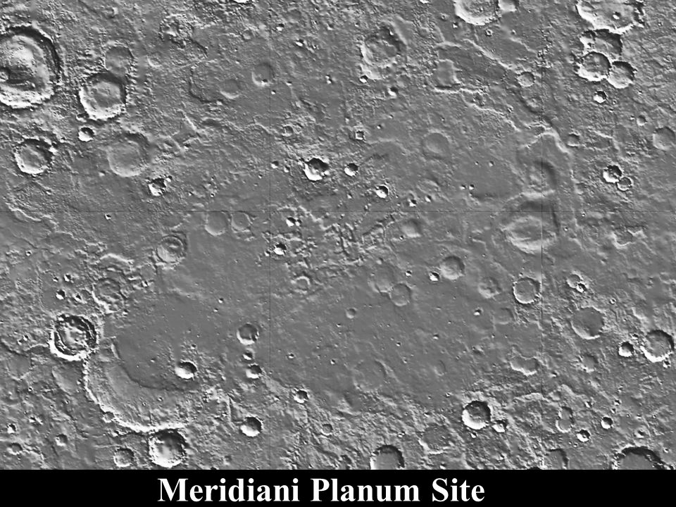 Meridiani Planum Site Smooth Plains Overly Noachian Cratered Terrain Generally Bury Valley Networks flow to NW, Down Topographic Slope Created by Tharsis Loading Population Old Degraded Craters >1 km Diameter are Noachian Lightly Cratered Indicates Young Surface Age