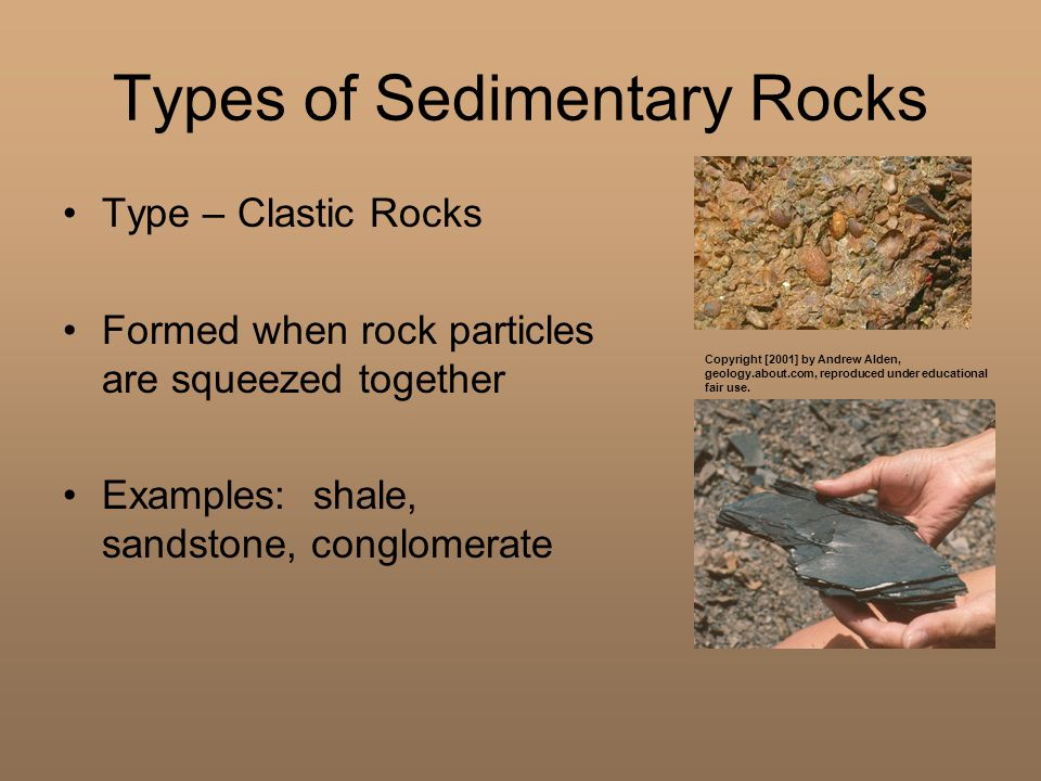 Types of Sedimentary Rocks Type – Clastic Rocks Formed when rock particles are squeezed together Examples: shale, sandstone, conglomerate Copyright [2001] by Andrew Alden, geology.about.com, reproduced under educational fair use.