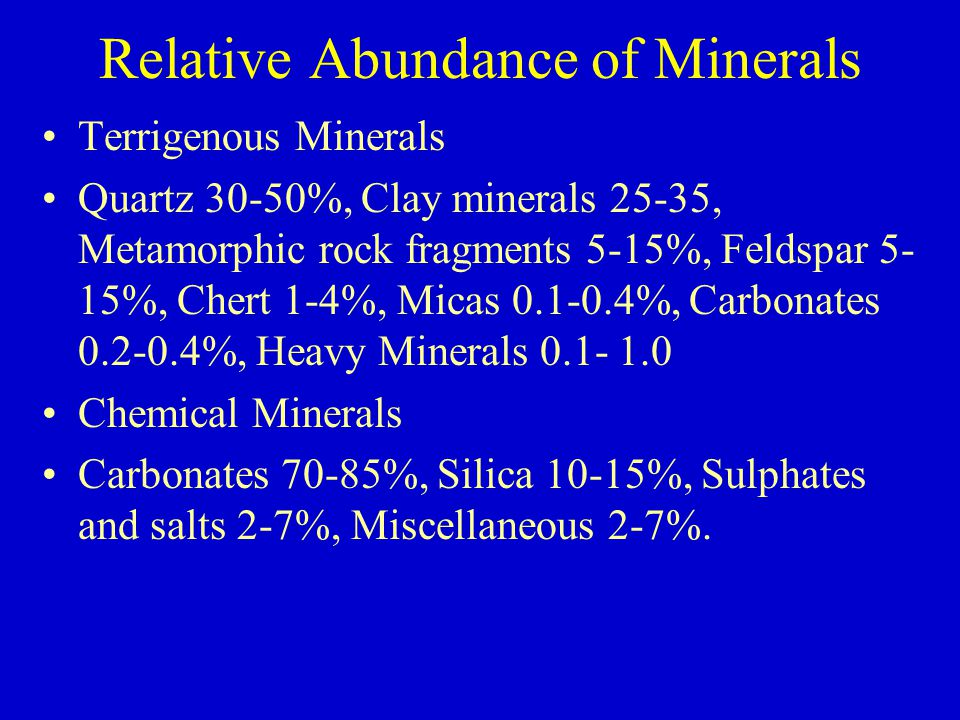 Relative Abundance of Minerals Terrigenous Minerals Quartz 30-50%, Clay minerals 25-35, Metamorphic rock fragments 5-15%, Feldspar 5- 15%, Chert 1-4%, Micas 0.1-0.4%, Carbonates 0.2-0.4%, Heavy Minerals 0.1- 1.0 Chemical Minerals Carbonates 70-85%, Silica 10-15%, Sulphates and salts 2-7%, Miscellaneous 2-7%.