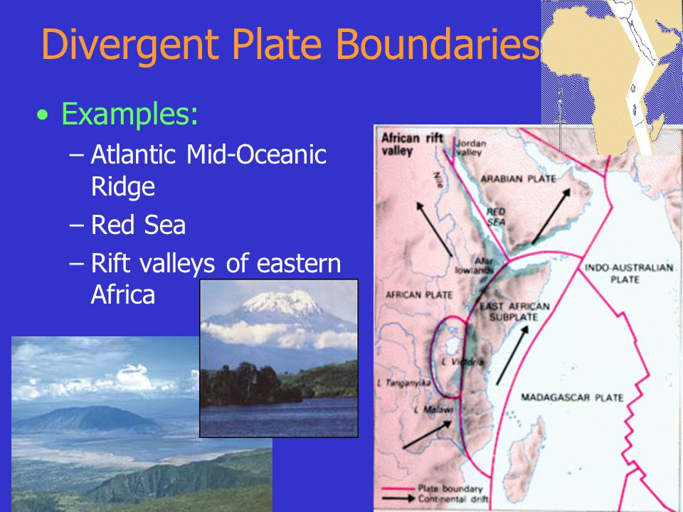 Divergent Plate Boundaries Examples: –Atlantic Mid-Oceanic Ridge –Red Sea –Rift valleys of eastern Africa