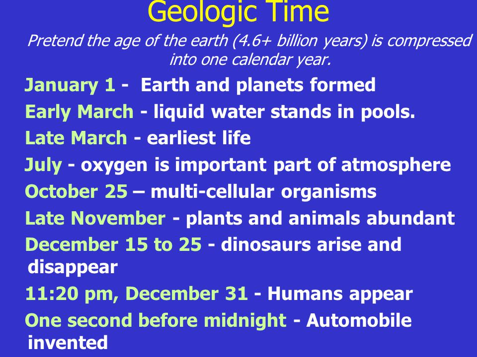 Geologic Time Pretend the age of the earth (4.6+ billion years) is compressed into one calendar year. January 1 - Earth and planets formed Early March
