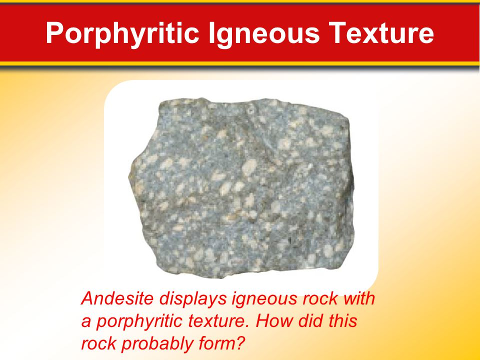Porphyritic Igneous Texture Andesite displays igneous rock with a porphyritic texture.