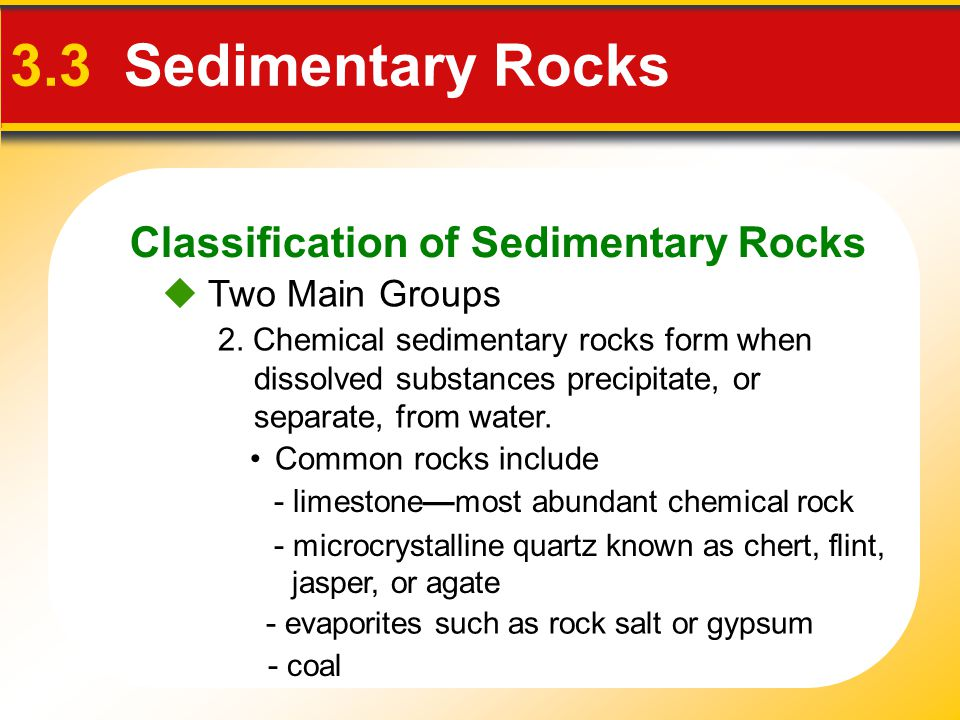 Classification of Sedimentary Rocks 3.3 Sedimentary Rocks  Two Main Groups 2.
