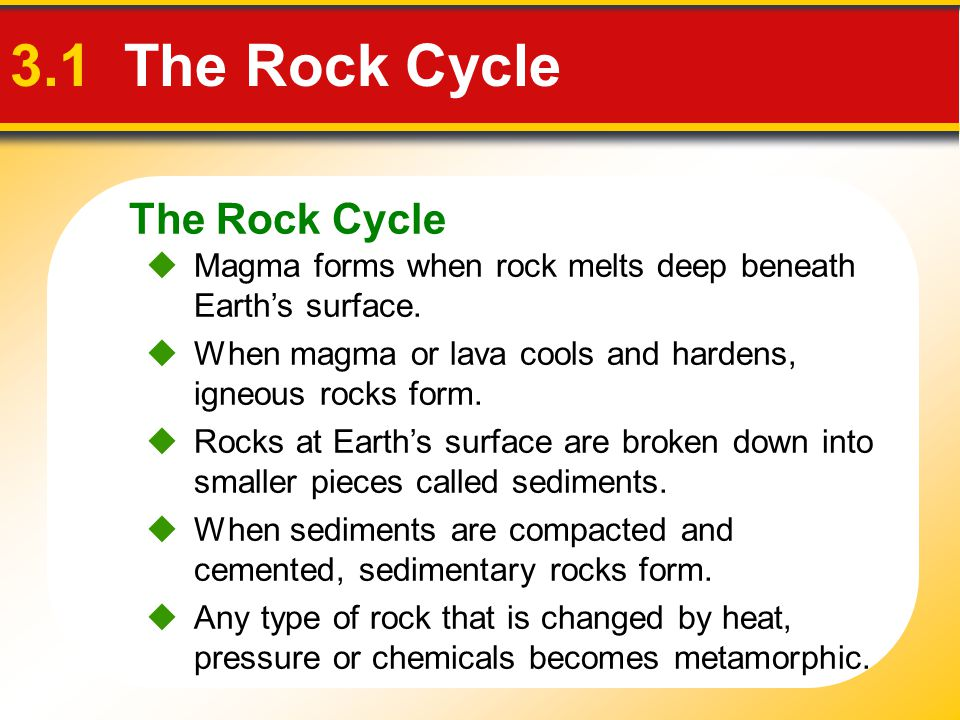 The Rock Cycle 3.1 The Rock Cycle  Magma forms when rock melts deep beneath Earth's surface.