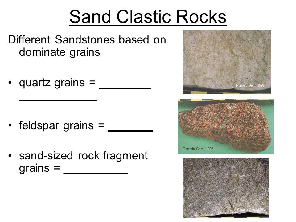 Sand Clastic Rocks Different Sandstones based on dominate grains quartz grains = ________ ____________ feldspar grains = _______ sand-sized rock fragment grains = __________