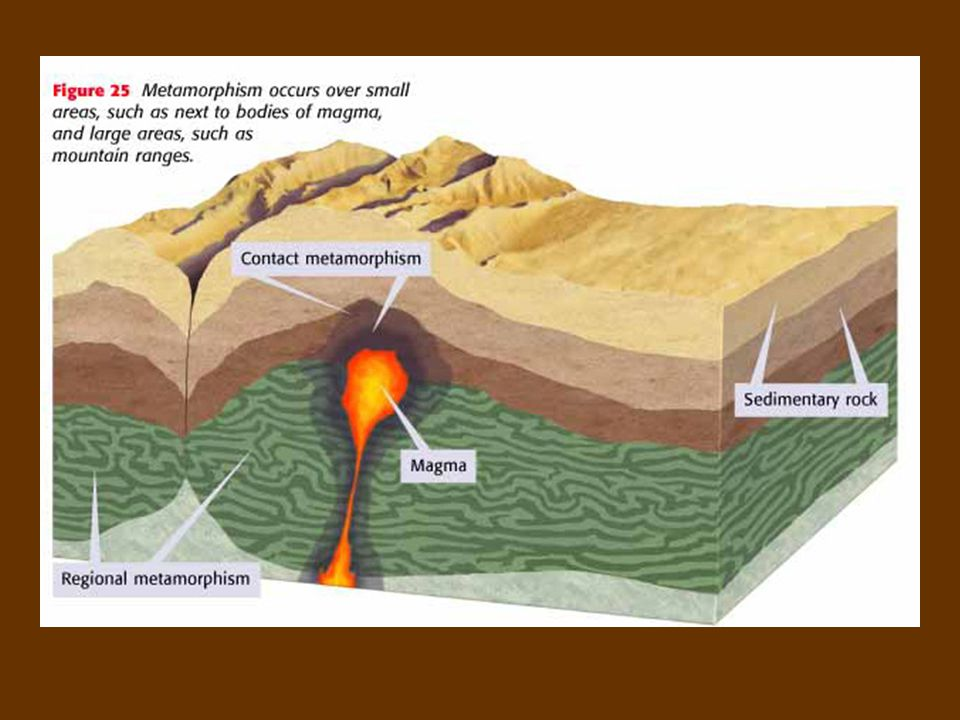 "Origins of Metamorphic Rock 1.Contact Metamorphism – Rock comes into ""contact"" with magma and cooks 2. Regional Metamorphism – Enormous pressure build"