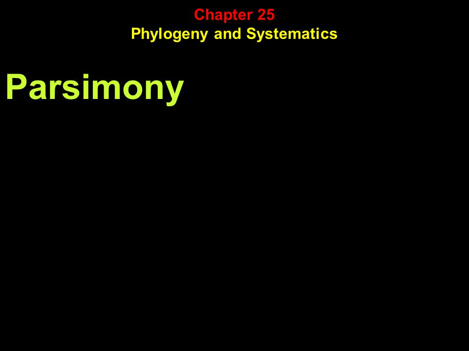 Parsimony Chapter 25 Phylogeny and Systematics