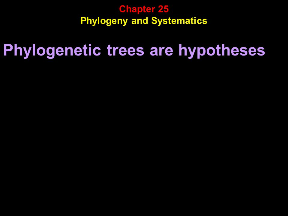 Phylogenetic trees are hypotheses Chapter 25 Phylogeny and Systematics