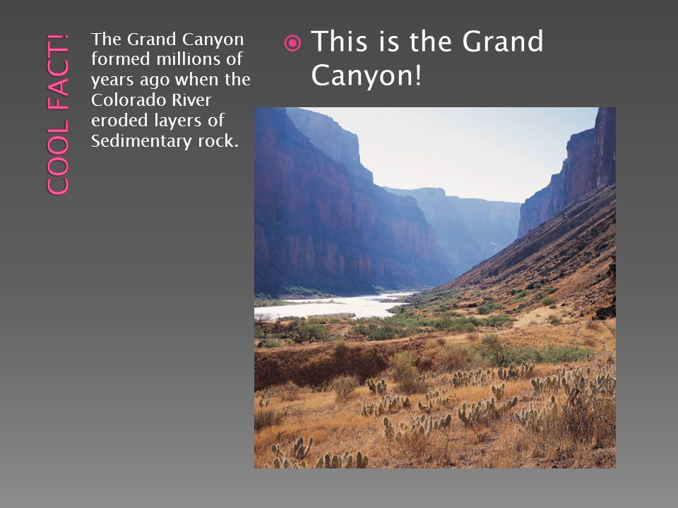 The Grand Canyon formed millions of years ago when the Colorado River eroded layers of Sedimentary rock.