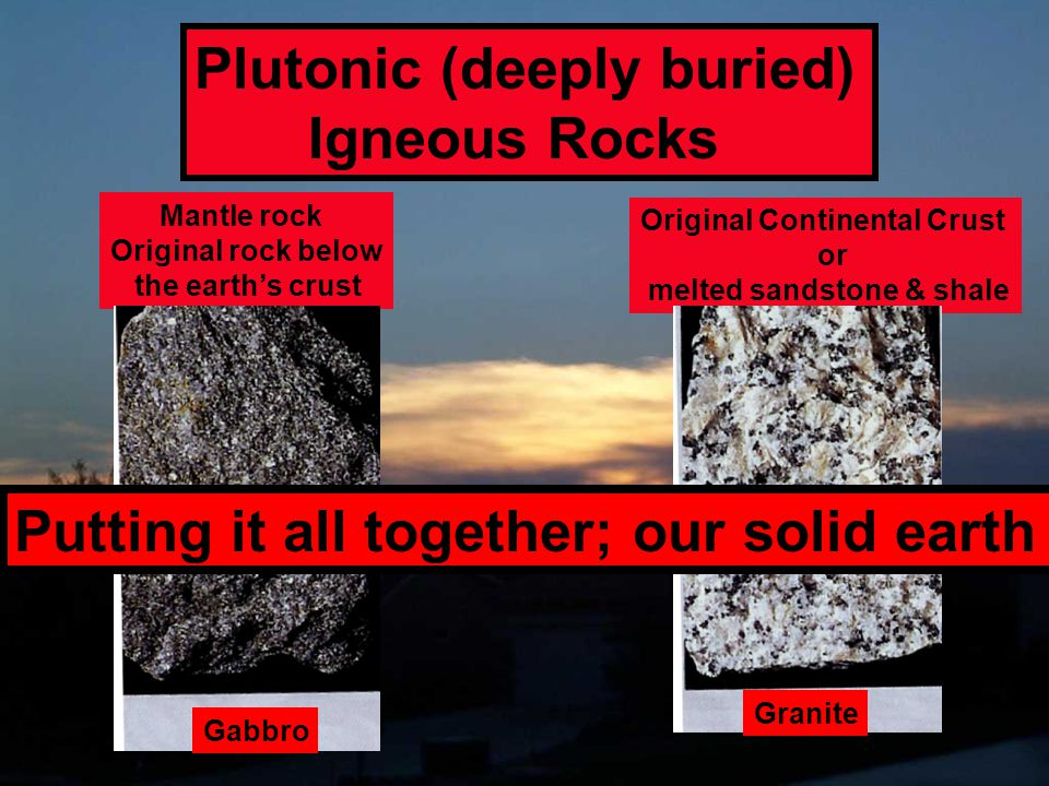 Plutonic (deeply buried) Igneous Rocks Mantle rock Original rock below the earth's crust Original Continental Crust or melted sandstone & shale Gabbro
