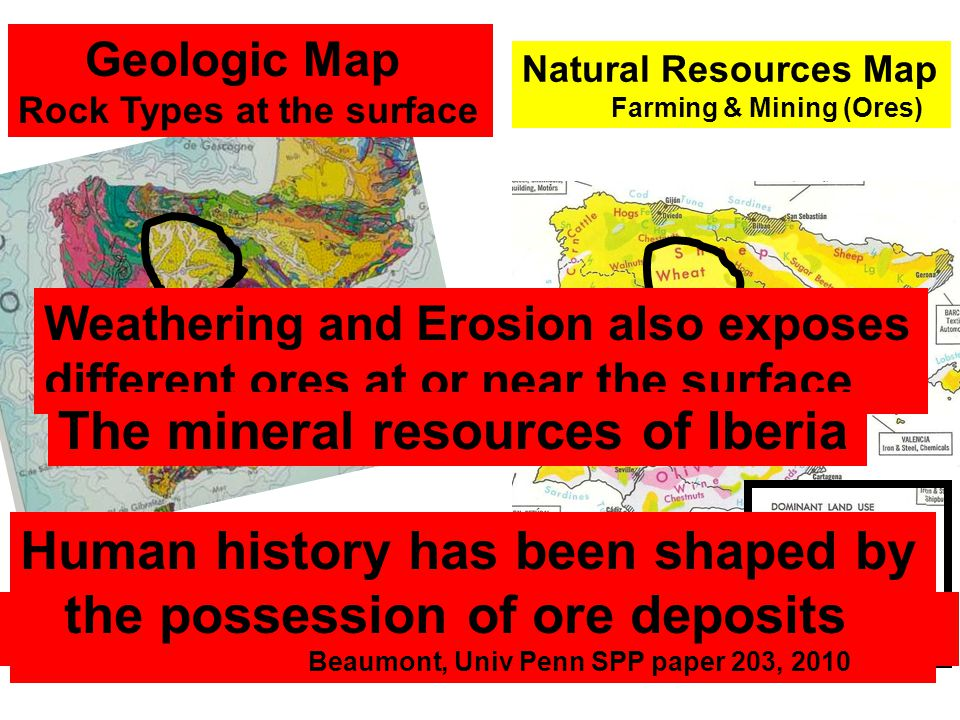 Geologic Map Rock Types at the surface Natural Resources Map Farming & Mining (Ores) Proposition: Rocks of different types weather & erode producing d