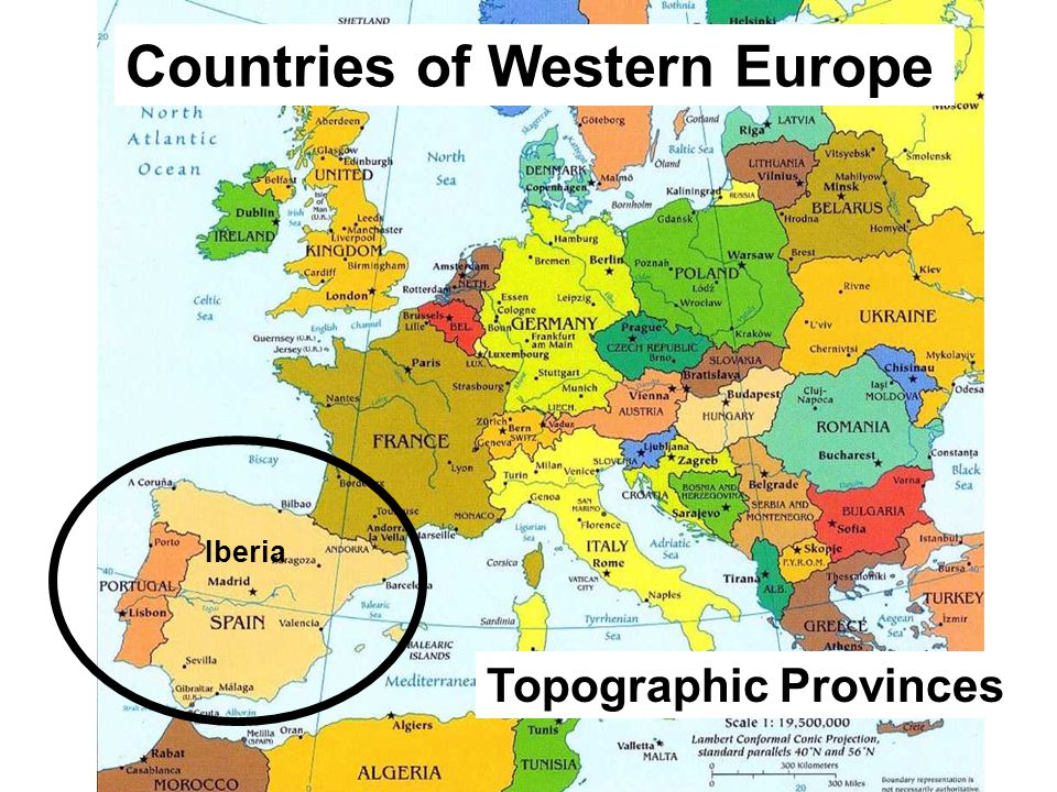 Countries of Western Europe Iberia Topographic Provinces