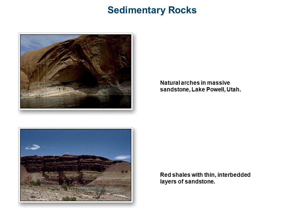 Sedimentary Rocks Natural arches in massive sandstone, Lake Powell, Utah.