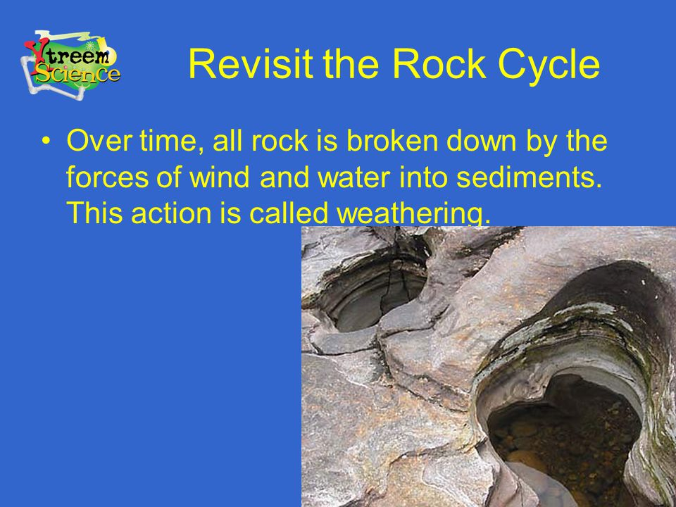 Revisit the Rock Cycle Over time, all rock is broken down by the forces of wind and water into sediments. This action is called weathering.
