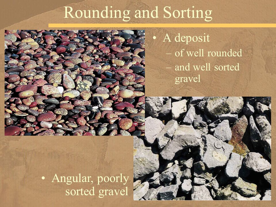 A deposit –of well rounded –and well sorted gravel Rounding and Sorting Angular, poorly sorted gravel
