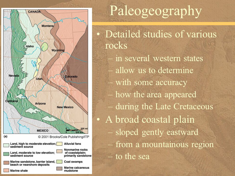 Detailed studies of various rocks –in several western states –allow us to determine –with some accuracy –how the area appeared –during the Late Cretac