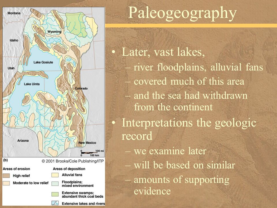 Later, vast lakes, –river floodplains, alluvial fans –covered much of this area –and the sea had withdrawn from the continent Interpretations the geol