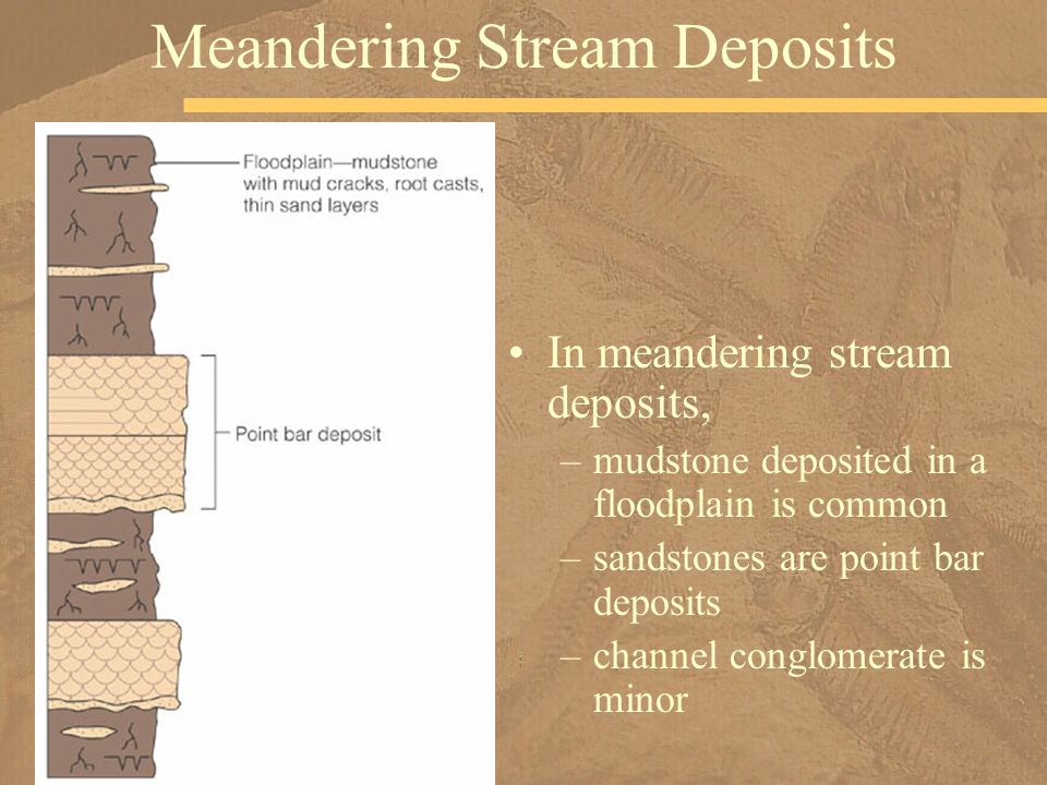 In meandering stream deposits, –mudstone deposited in a floodplain is common –sandstones are point bar deposits –channel conglomerate is minor Meander