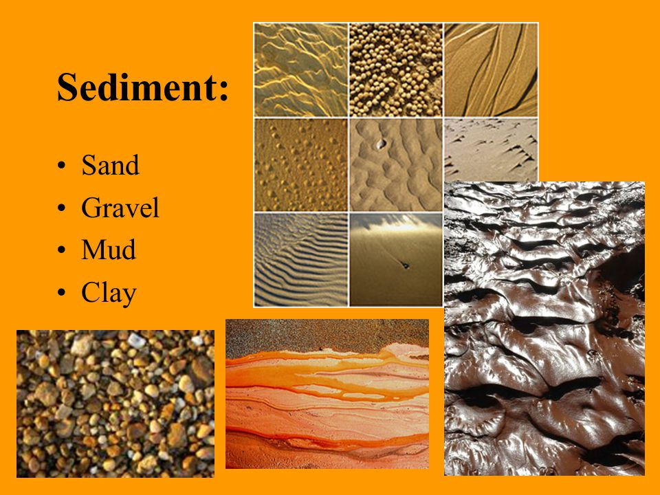 Name of Particle Size Range Loose Sediment Consolidated Rock Boulder >256 mm Gravel Conglomerate or Breccia (depends on rounding) Cobble 64 – 256 mm Gravel Pebble 2 - 64 mm Gravel Sand 1/16 –2 mm Sand Sandstone Silt 1/256 - 1/16 mm Silt Siltstone Clay <1/256 mm Clay Claystone, mudstone, and shale