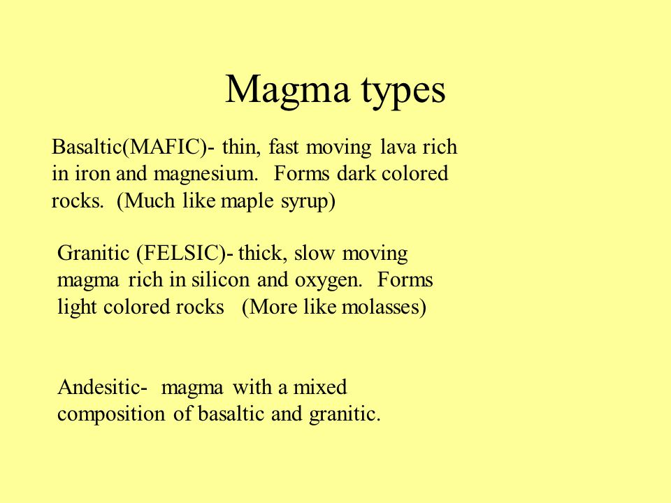 Magma types Basaltic(MAFIC)- thin, fast moving lava rich in iron and magnesium.