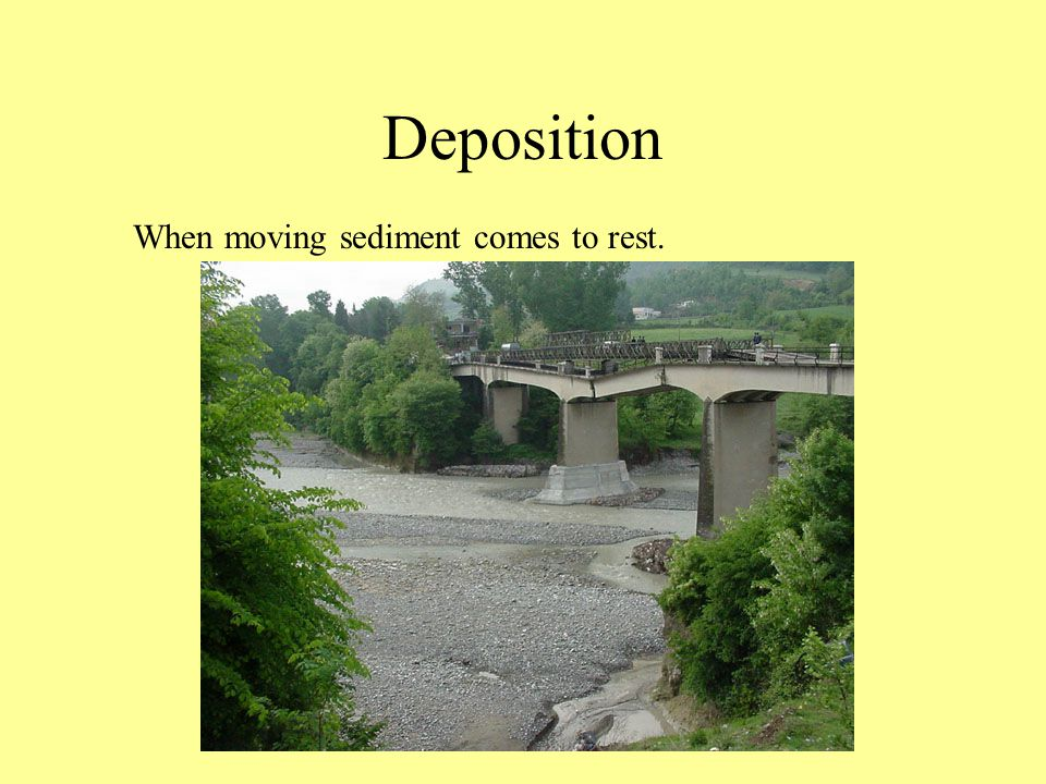 Deposition When moving sediment comes to rest.