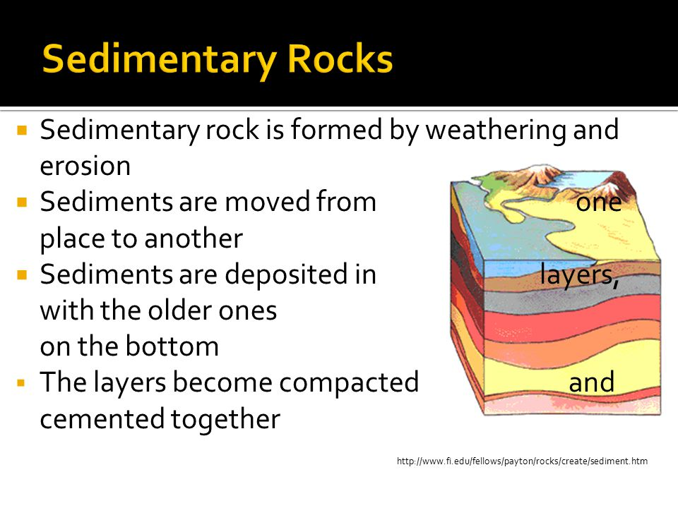 http://www.fi.edu/fellows/payton/rocks/create/sediment.htm  Sedimentary rock is formed by weathering and erosion  Sediments are moved from one place