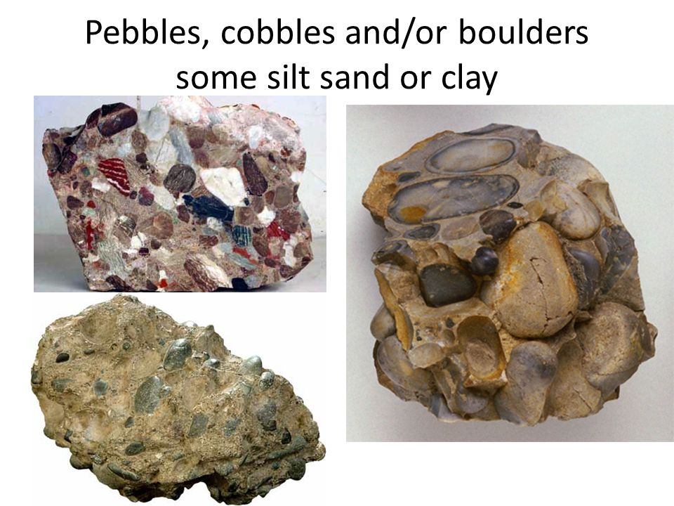 Pebbles, cobbles and/or boulders some silt sand or clay