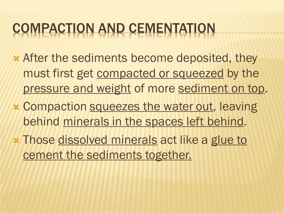  After the sediments become deposited, they must first get compacted or squeezed by the pressure and weight of more sediment on top.  Compaction squ