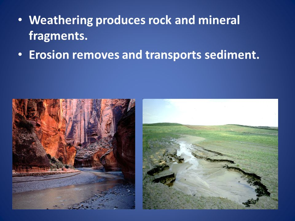 Weathering produces rock and mineral fragments. Erosion removes and transports sediment.