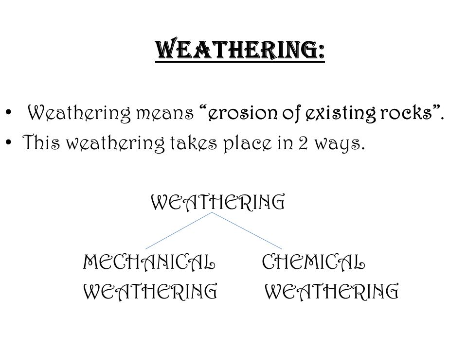 WEATHERING: Weathering means erosion of existing rocks .