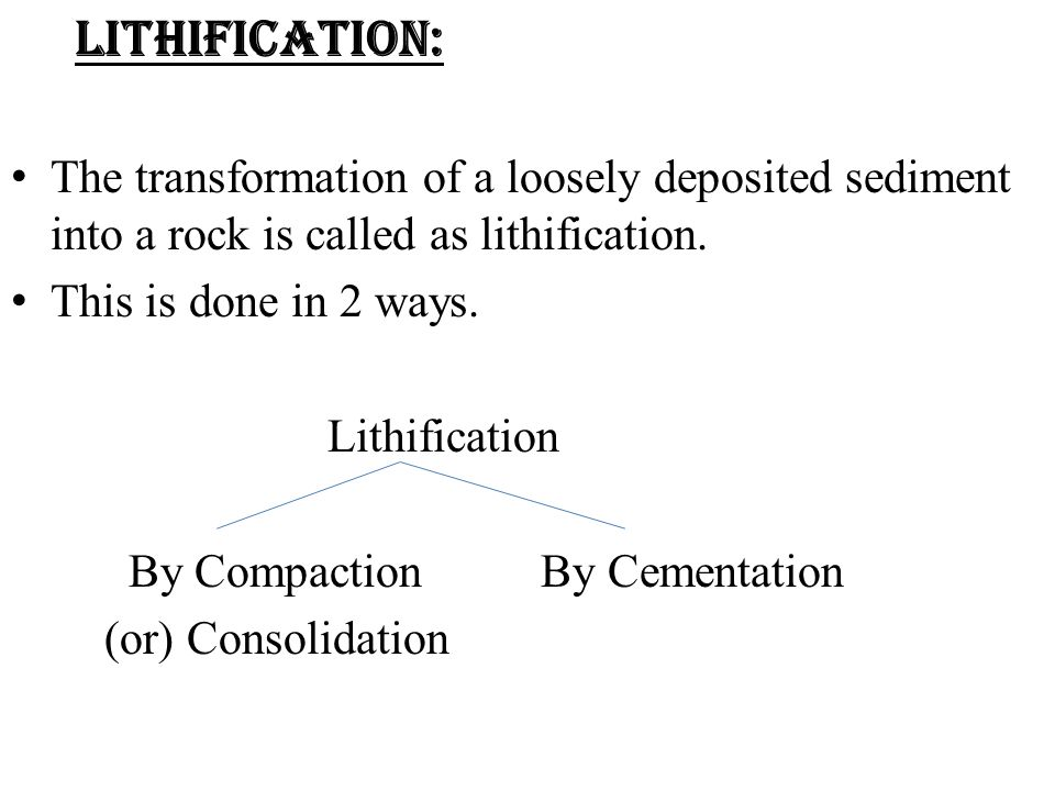 LITHIFICATION: The transformation of a loosely deposited sediment into a rock is called as lithification.