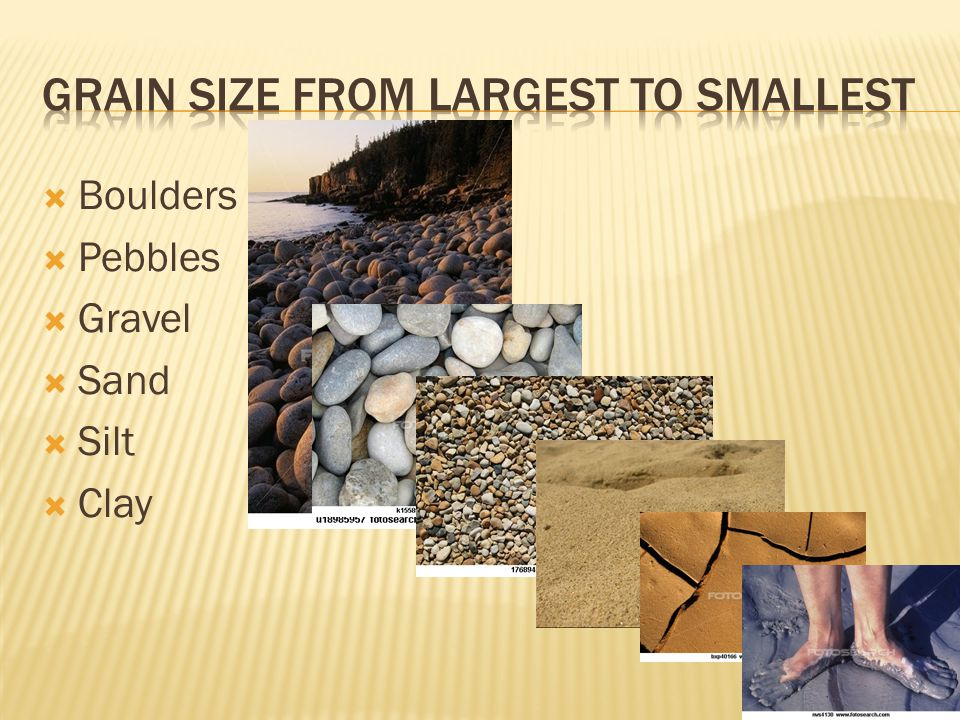  Boulders  Pebbles  Gravel  Sand  Silt  Clay