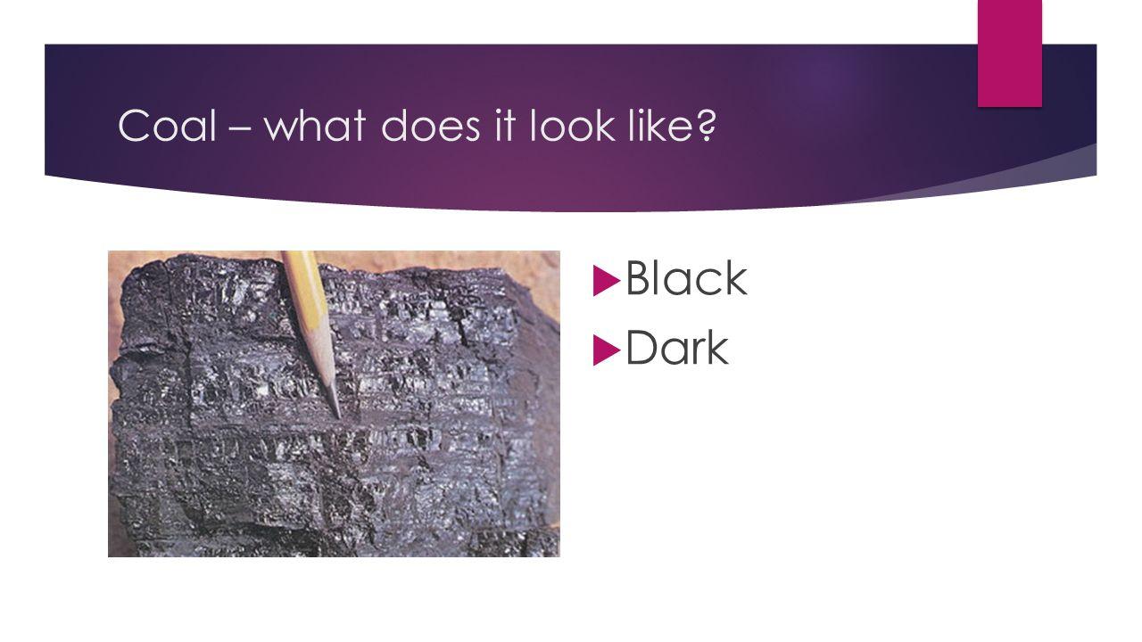 Coal – what does it look like?  Black  Dark