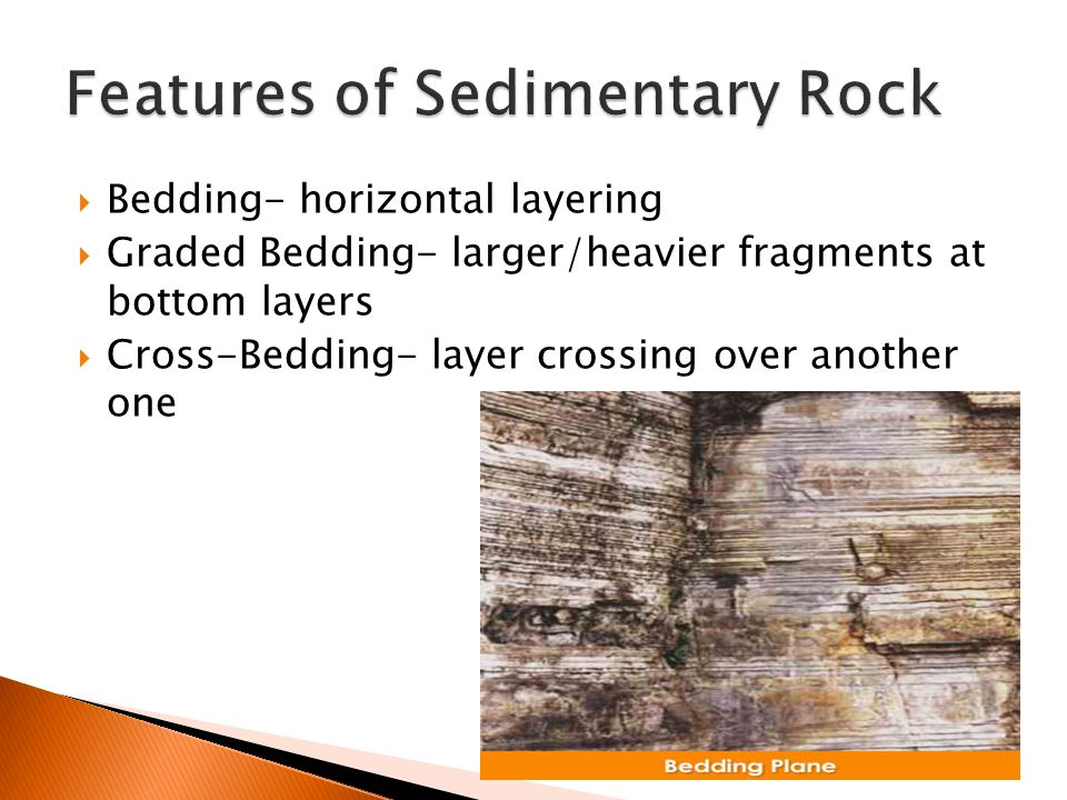  Bedding- horizontal layering  Graded Bedding- larger/heavier fragments at bottom layers  Cross-Bedding- layer crossing over another one