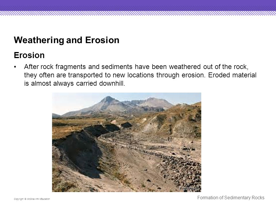 Copyright © McGraw-Hill Education Formation of Sedimentary Rocks Weathering and Erosion Erosion After rock fragments and sediments have been weathered out of the rock, they often are transported to new locations through erosion.