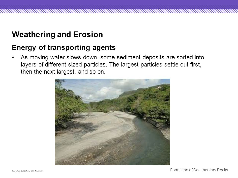 Copyright © McGraw-Hill Education Formation of Sedimentary Rocks Weathering and Erosion Energy of transporting agents As moving water slows down, some sediment deposits are sorted into layers of different-sized particles.