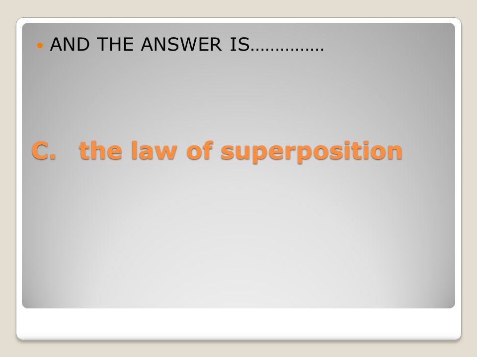 C.the law of superposition AND THE ANSWER IS……………