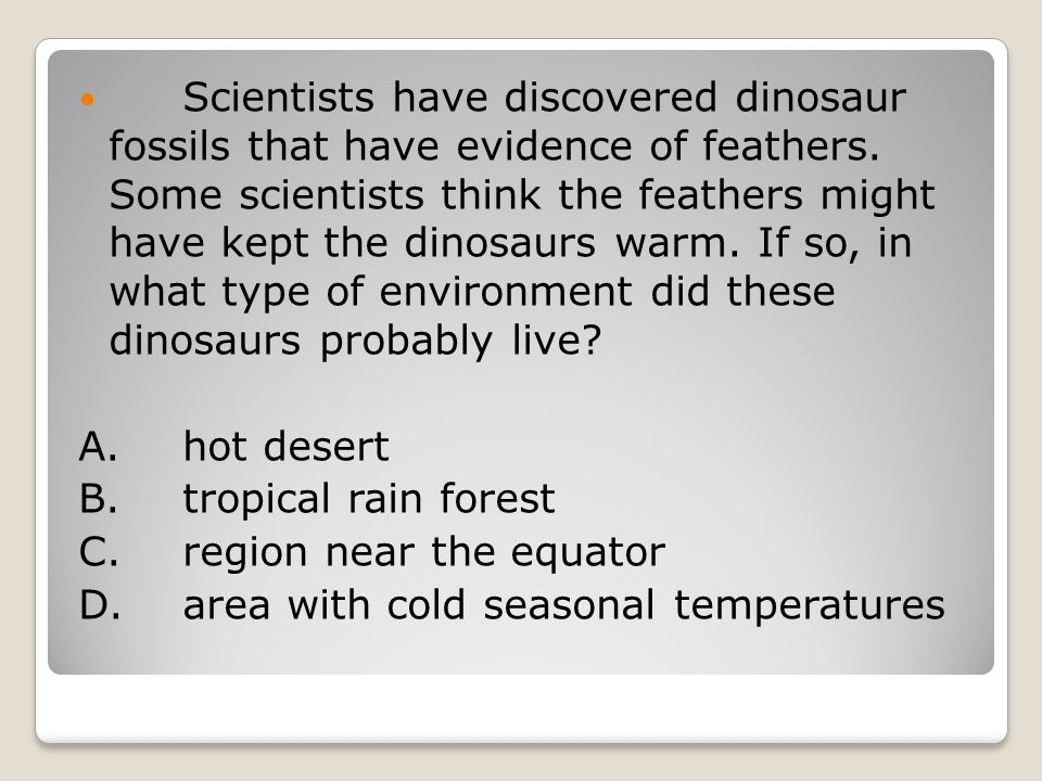 Scientists have discovered dinosaur fossils that have evidence of feathers.
