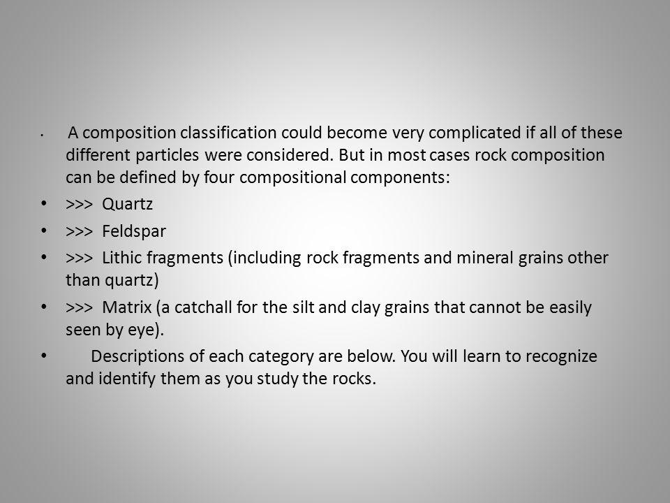A composition classification could become very complicated if all of these different particles were considered.