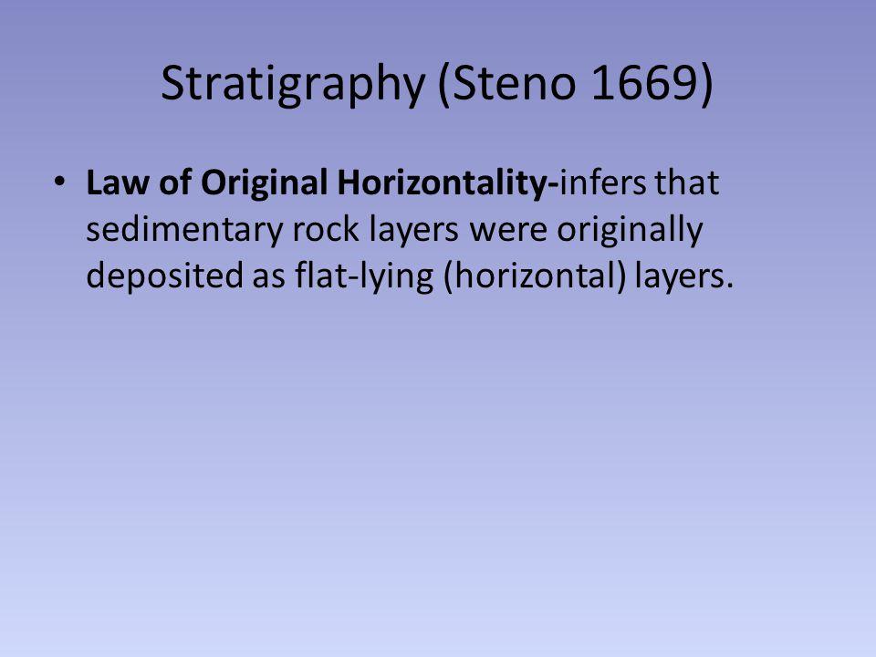 Stratigraphy (Steno 1669) Law of Original Horizontality-infers that sedimentary rock layers were originally deposited as flat-lying (horizontal) layer