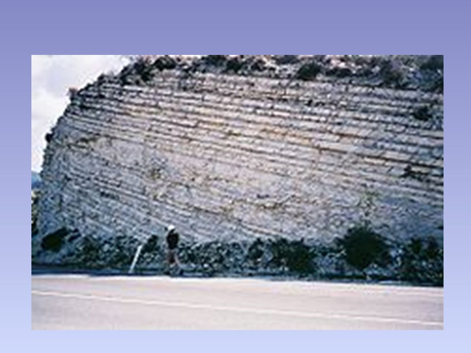Stratigraphy (Steno 1669) Law of Original Horizontality-infers that sedimentary rock layers were originally deposited as flat-lying (horizontal) layers.