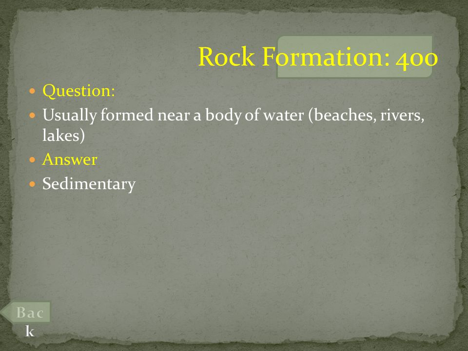 Question: Conglomerate, made of large pieces of rounded rock is what type of sedimentary rock.
