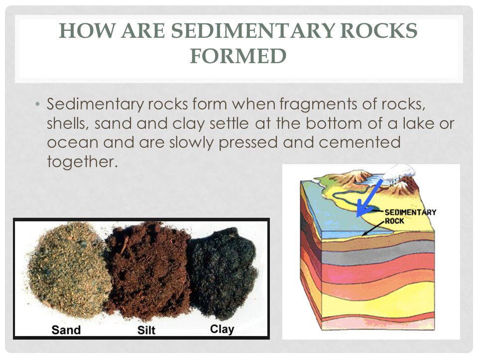 HOW ARE SEDIMENTARY ROCKS FORMED Sedimentary rocks form when fragments of rocks, shells, sand and clay settle at the bottom of a lake or ocean and are