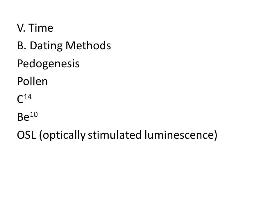 V. Time B. Dating Methods Pedogenesis Pollen C 14 Be 10 OSL (optically stimulated luminescence)