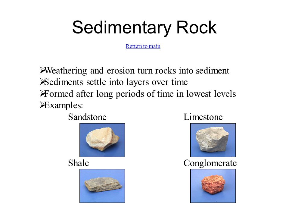 Sedimentary Rock  Weathering and erosion turn rocks into sediment  Sediments settle into layers over time  Formed after long periods of time in low