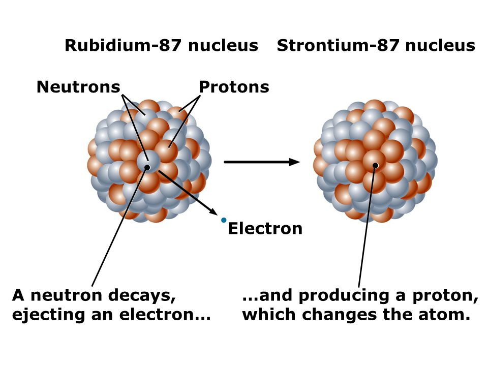 Rubidium-87 nucleus NeutronsProtons Electron A neutron decays, ejecting an electron… Strontium-87 nucleus …and producing a proton, which changes the atom.