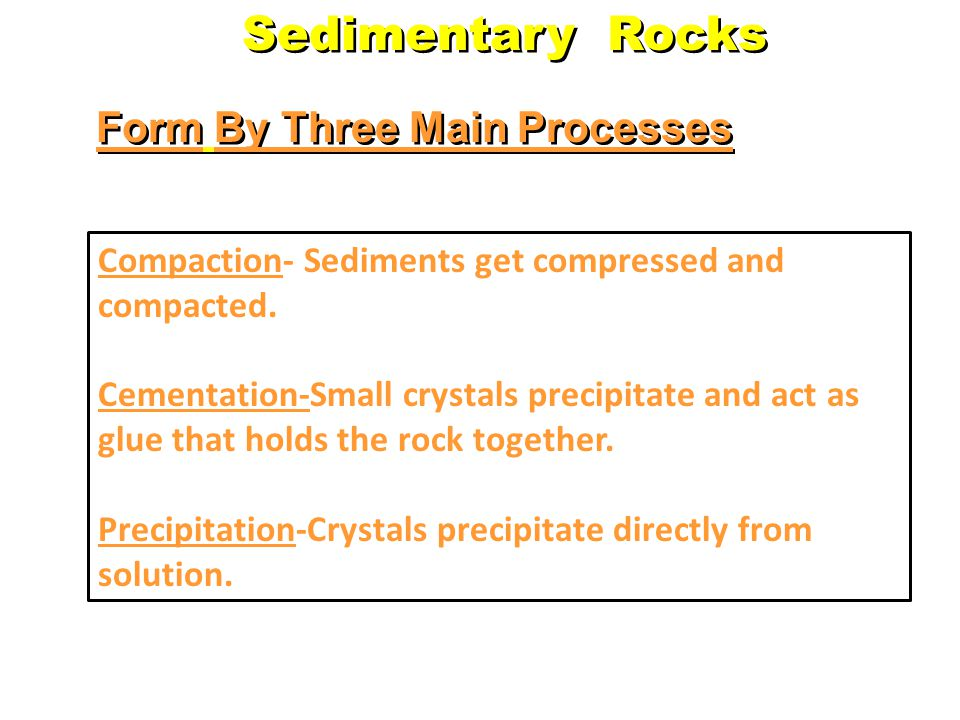 There are 3 Types… Clastic – formed from weathering debris Chemical – form when dissolved materials precipitate from solution Organic – form from the accumulation of plant or animal debris