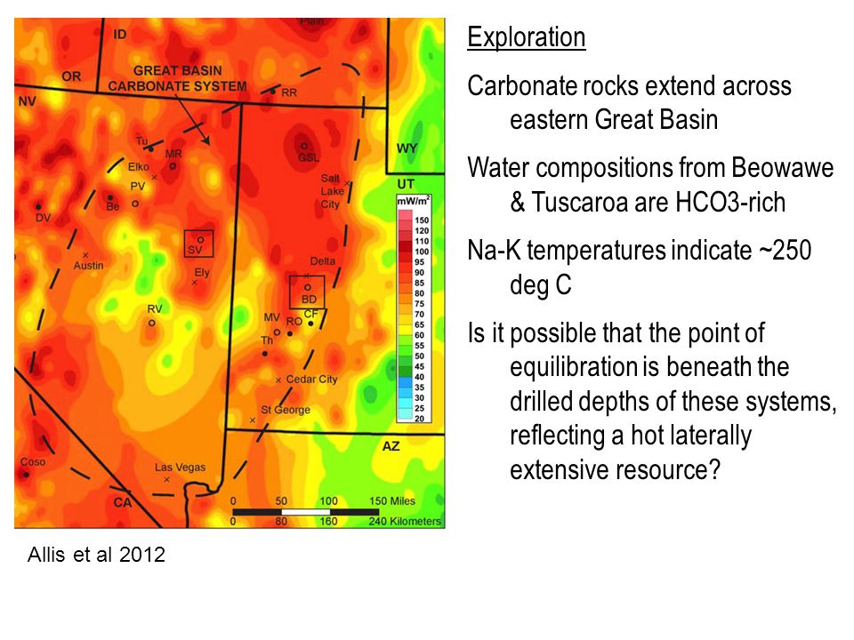 Exploration Carbonate rocks extend across eastern Great Basin Water compositions from Beowawe & Tuscaroa are HCO3-rich Na-K temperatures indicate ~250